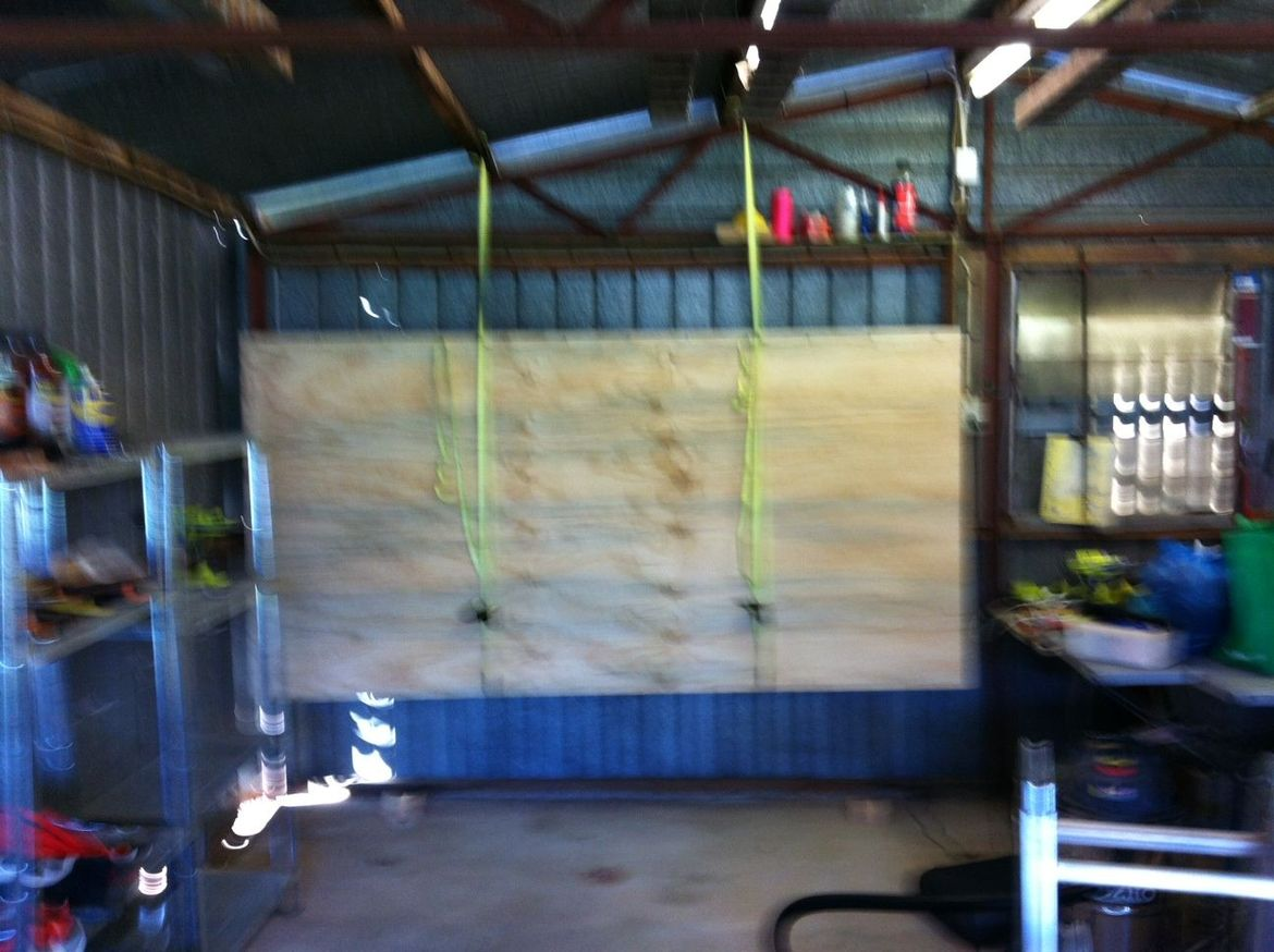 Plywood tool wall being hoisted. Sorry for potato quality, was stressed!