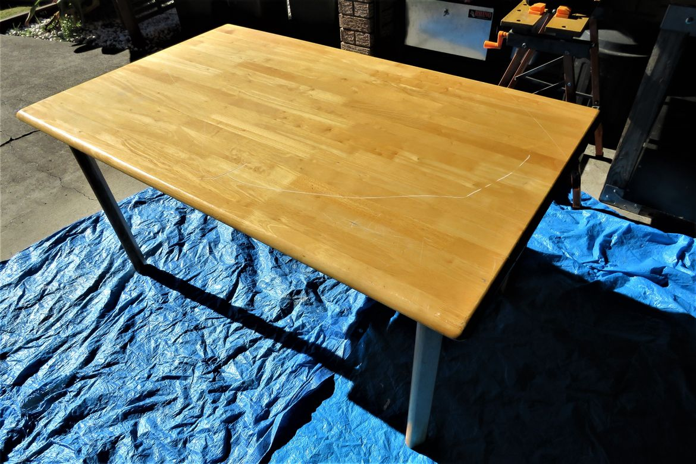 Rubberwood table top before resurfacing