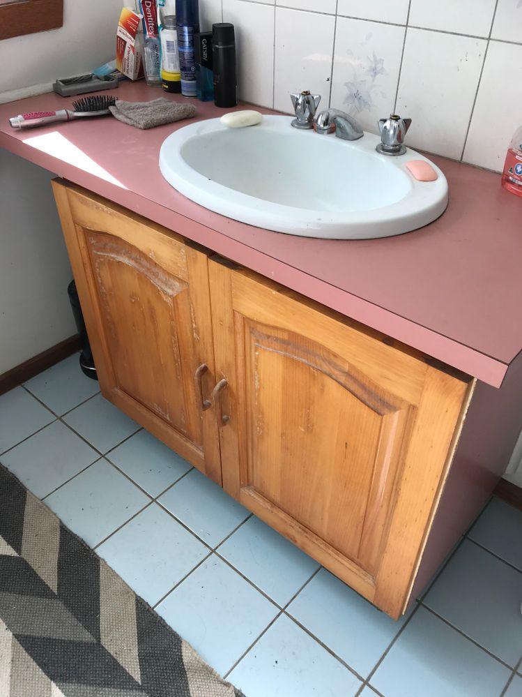Bathroom sink. Goodbye pink!