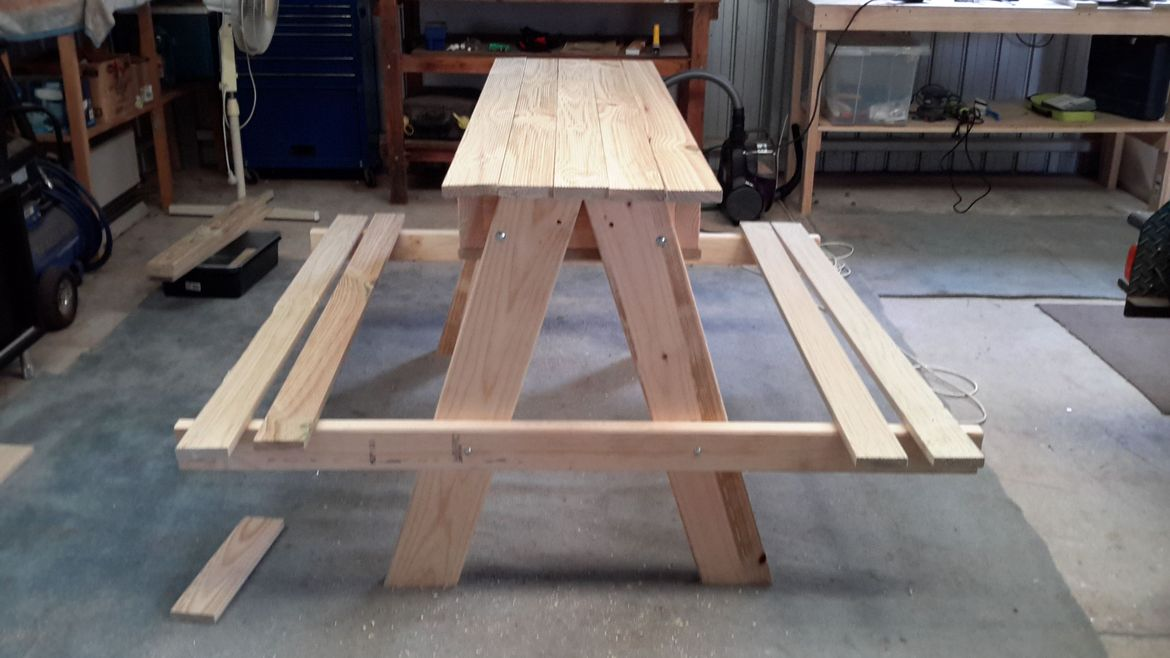 When not in use it's a kids picnic table. Sturdy enough for some adults
