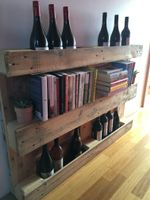 Pallet book and wine shelf