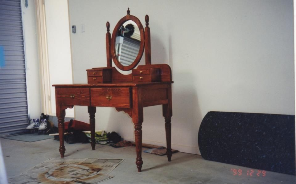 Recycled timber dressing table for a customer