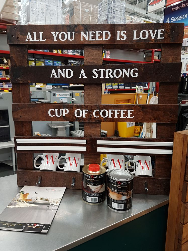 Old pallets made into a coffee station. #bunningsdiy