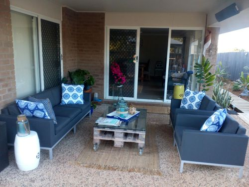The al fresco area that's abutted to the back and side decks