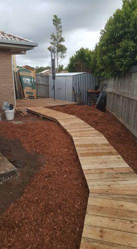 boardwalk to clothesline & garden shed