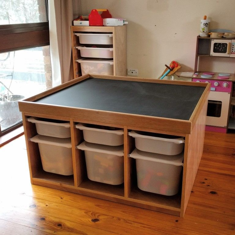 The finished play table with tub storage