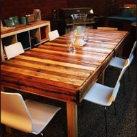 Dining table made using four pallets