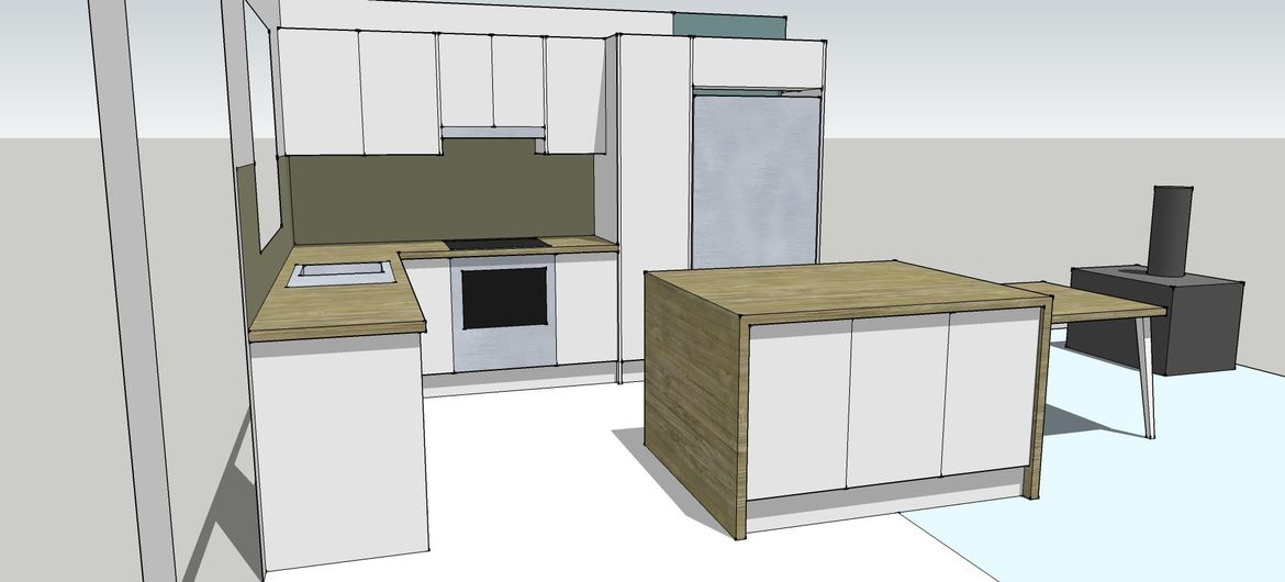 The suggested gap between your benchtop and the island is 1.2 meters both at the side and back.