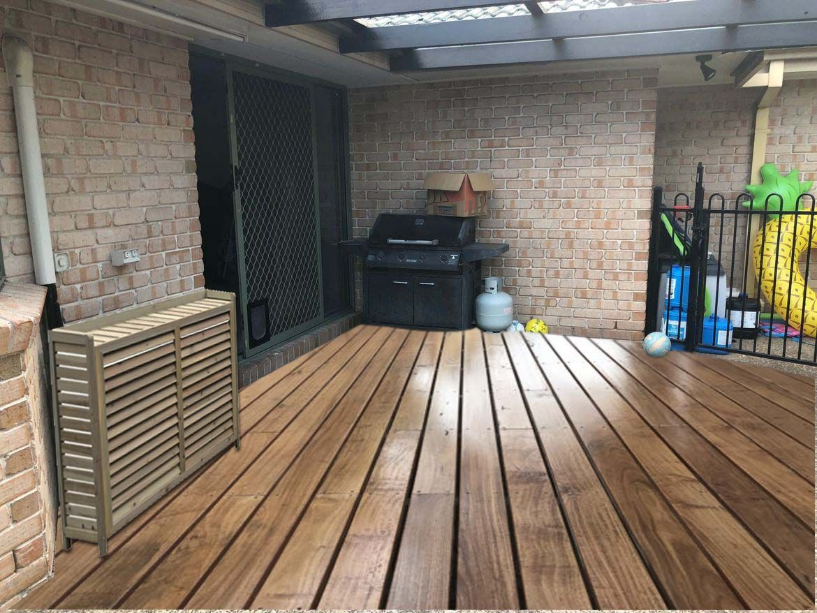 Your choice of decking furniture, but lets tidy up the toys and chemicals with a keter box.
