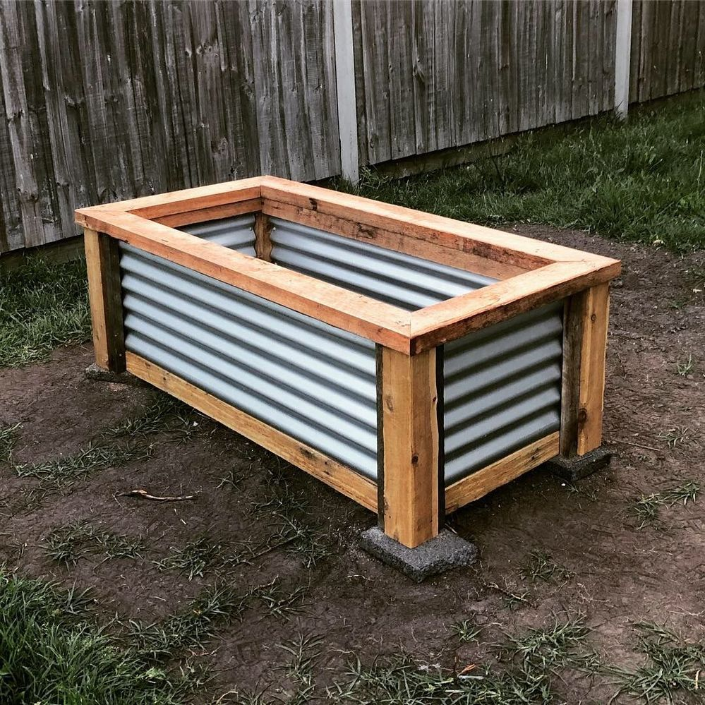 The first of 3 raised garden beds I'm making. Made from cypress, hardwood sleepers and some hardwood from pallets