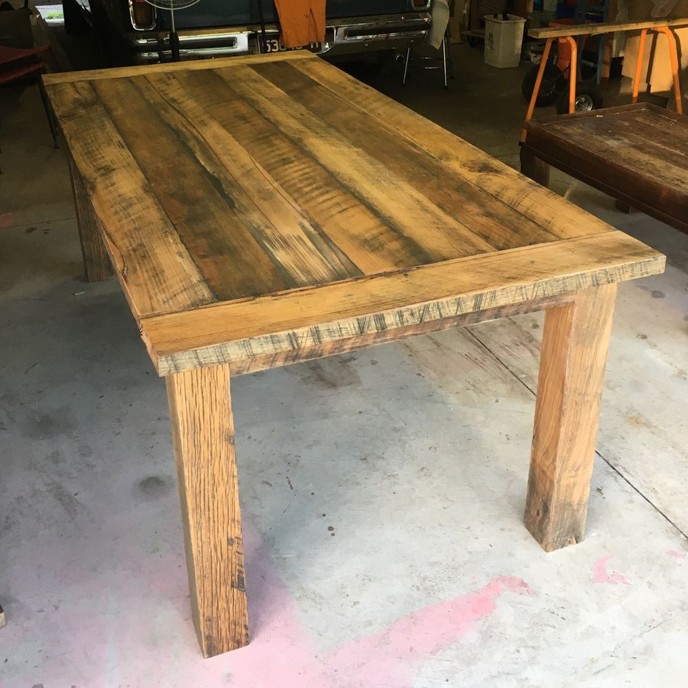 Kitchen table made from recycled timber