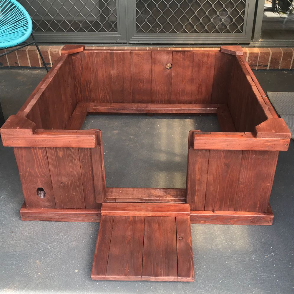 Puppy whelping box with slide up door made from all recycled pallets