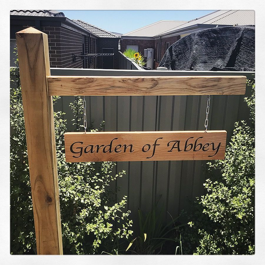 Garden sign made from left over building materials