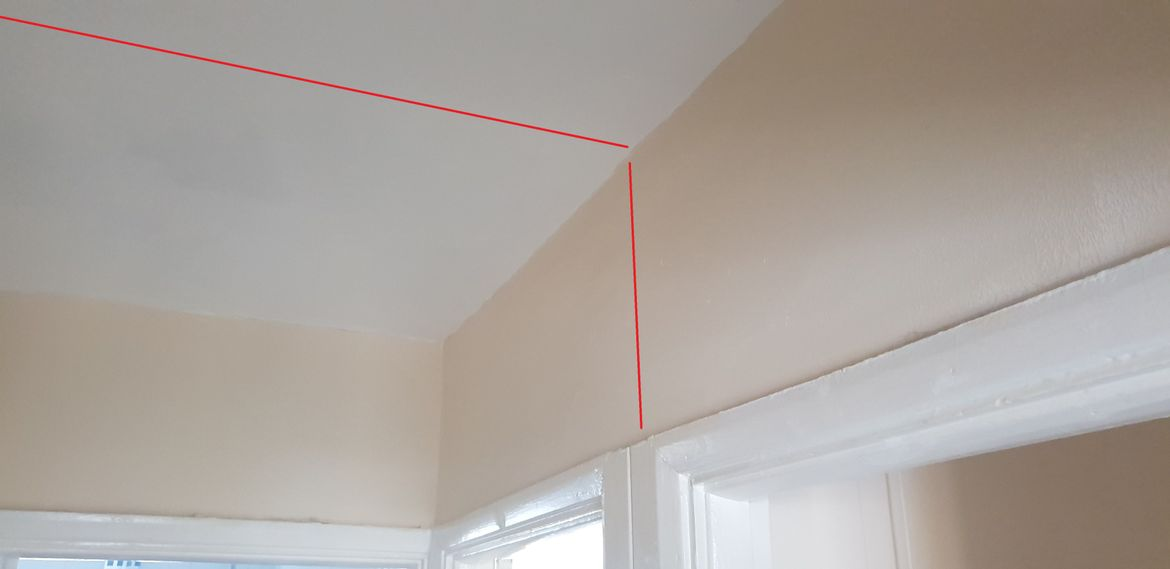 beam is above the landing only as the other side is supported by a  brick wall
