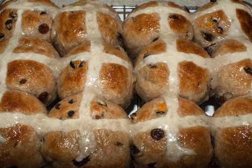 One a penny, two a penny, hot cross buns. Fresh out the oven.