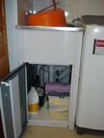 This is my laundry storage trough & cupboard approx half size as normal household