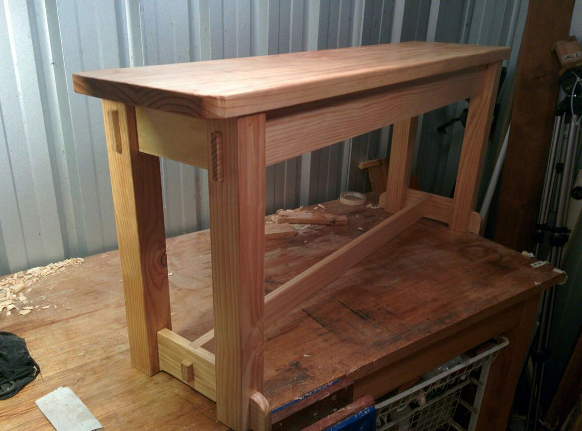 Bench seat, 100% made with handtools. My first post. Featuring through tenon joins