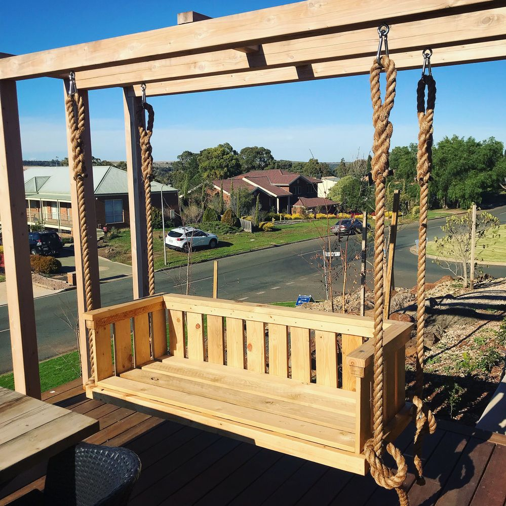 Outdoor Daybed Swing made recycled pallets with 32mm rope. A custom fabricated mattress to be made