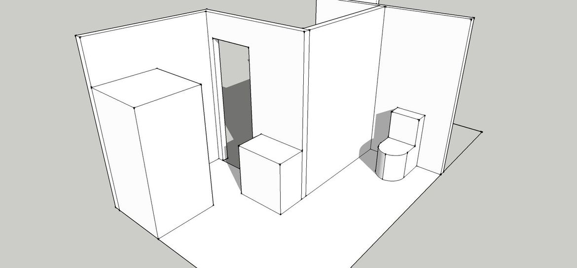 Close the main door to toilet, remove bath tear down wall.