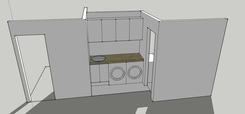 Turn empty nook into new laundry area.