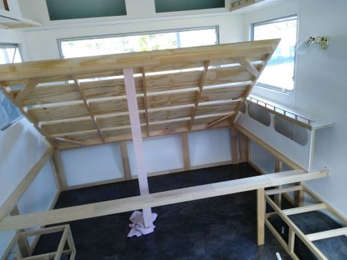 Hinged slat double bed, 12mm ply and pine, will add gas struts later
