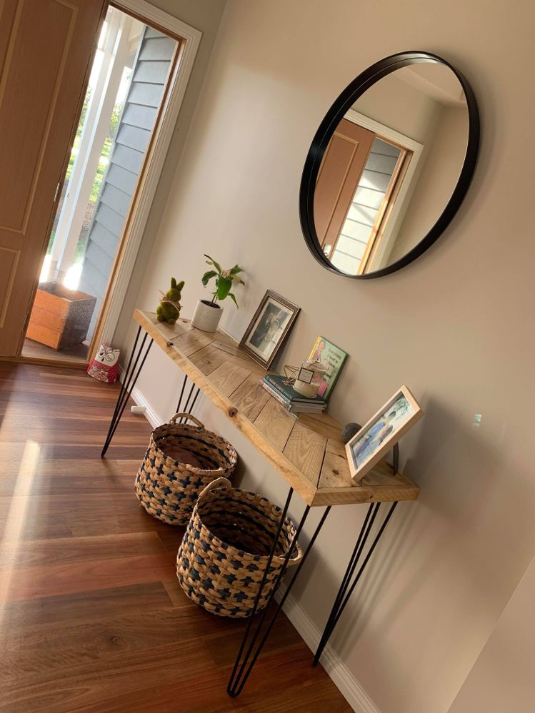 Herringbone Pallet Console Table. Made from recycled pallets, finished off with steel hairpin legs Purchased from Bunnings