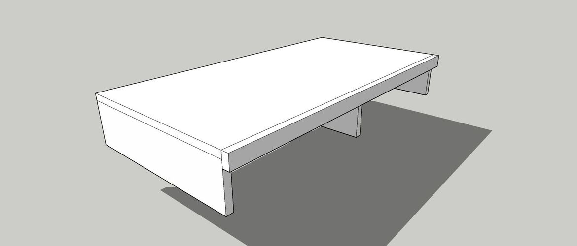 A supporting long piece, drilled both into the legs and shelf to prevent swayng and shearing.