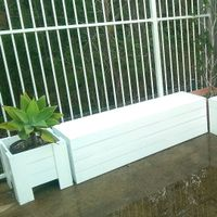 Outdoor bench seats and planter boxes