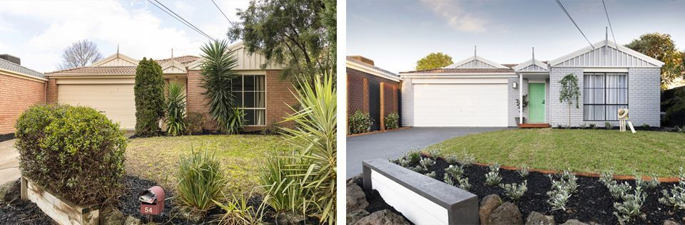 Before and after front yard makeover