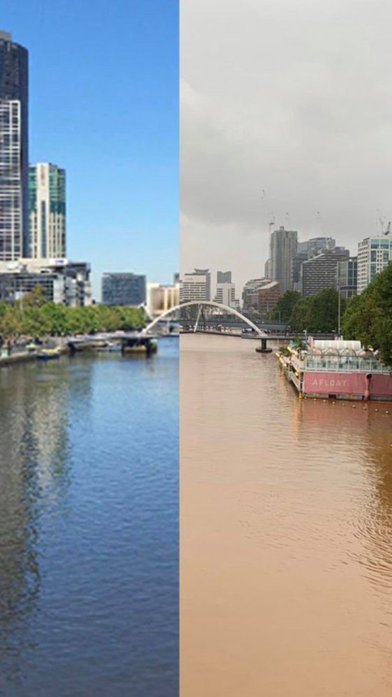 Before and after of the Yarra River