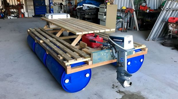 Floating Picnic Table With Outboard Moto Workshop