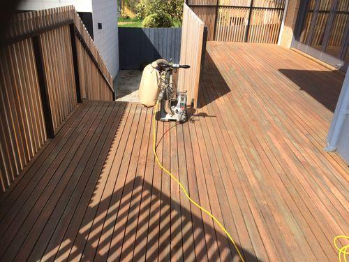 Floor sander making good progress
