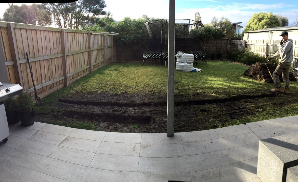 Adding drainage to fix a muddy lawn, and    - Workshop