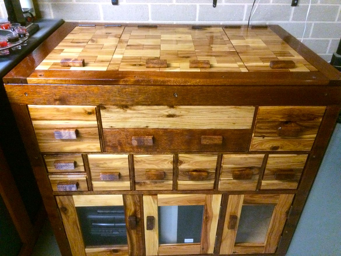 entertainment cabinet,made from fence palings and scrap decking boards