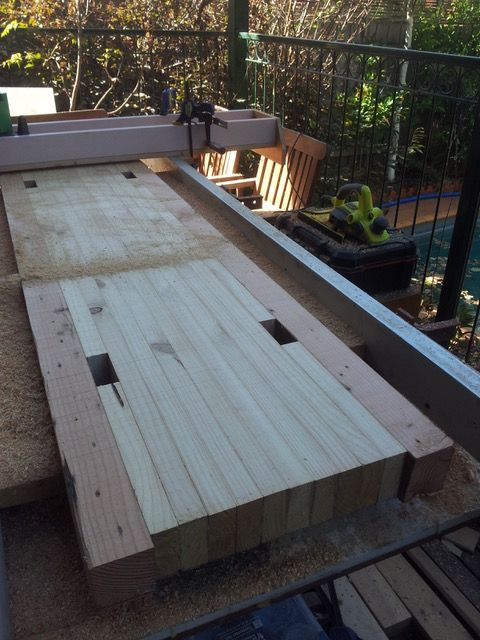 During levelling with a 'DYI' router/sled and levelling jig
