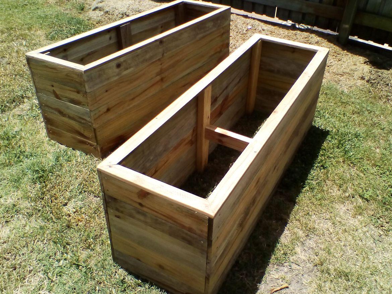 Raised garden boxes.