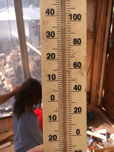 Saturday afternoon, only the roof insulated so far. She wants to know if we can start seedlings in there.